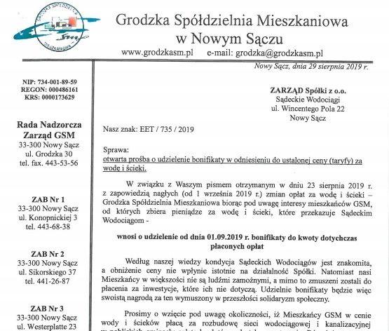 Pismo do Zarządu Spółki Sadeckie Wodociągi – Odpowiedz