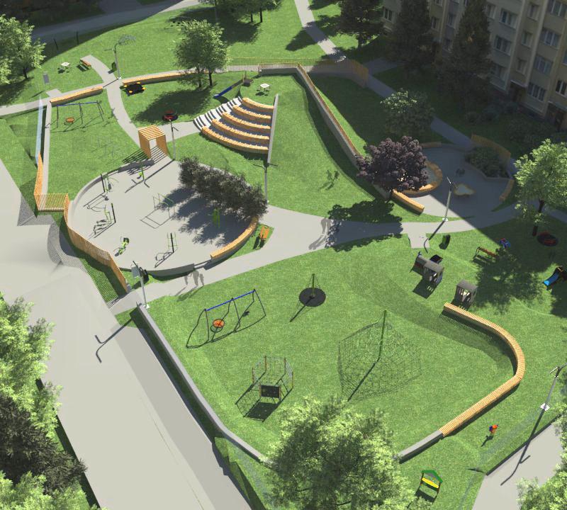 Koncepcja placu zabaw przy ul. Armii Krajowej w Zespole Administracji Budynków nr 3
